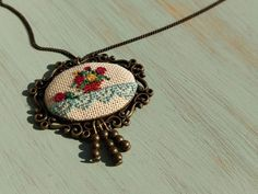 Flower pot with lace cross stitch pendant on bronze frame, charm necklace, cross stich jewelry, vintage style, gift for her Cross Stitch Flowers, Necklace Lengths, Flower Pots, Gifts For Her, Custom Design, Vintage Fashion, Bronze, Pendants, Colour