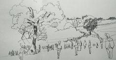 Juste avant @lesinnocents arrivée des spectateurs à @papillons_de_nuit. #P2N16 #maysketchaday #sketch #croquis #sketchbook #urbansketchers #landscape