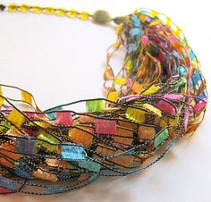 Multistrand rocking fiber necklace in sparkling by Gilgulim, $29.00
