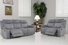 Volo Grey Reclining Sofa and Loveseat Set Pallet Furniture Sofa, Modular Furniture, Furniture Design, Trendy Furniture, Cheap Furniture, Grey Reclining Sofa, Grey Fireplace, Sofa And Loveseat Set, Living Room Furniture Arrangement
