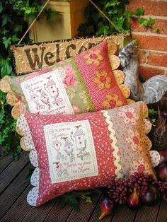 """Humble Home"" by Sally Giblin of The Rivendale Collection. Verse reads: Be it ever so humble... There's no place like home. Finished cushion size: 14½"" x 24"" #TheRivendaleCollection stitchery, appliqué and patchwork patterns. www.therivendalecollection.com.au"