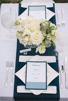 navy and white wedding ideas menu design by inkprint letterpress