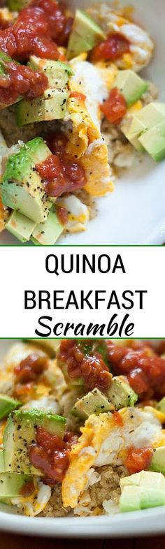 Quinoa Breakfast Scramble - This super easy breakfast recipe is the perfect way to jump start your day! With quinoa, eggs, avocado and salsa your taste buds will thank you. Healthy and delicious breakfast recipe. Breakfast Low Carb, Quinoa Breakfast, Clean Eating Breakfast, Breakfast Time, Healthy Breakfast Recipes, Clean Eating Recipes, Brunch Recipes, Healthy Snacks, Vegetarian Recipes