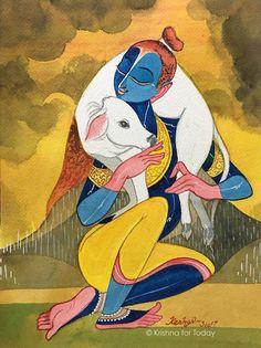 Pichwai Paintings, Indian Art Paintings, Modern Art Paintings, Ancient Indian Paintings, Madhubani Art, Madhubani Painting, Krishna Painting, Krishna Art, Lord Krishna