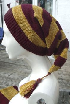 House Night Caps! Crochet?Knit?Phoenix Designs Gryffindor Harry Potter by PhoenixBrandsDesigns