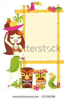 A vector illustration of 1960s retro inspired cute hawaiian luau party blank bamboo sign with a happy hawaiian girl in grass skirt holding a bowl of fruits with tiki statues and tropical birds.