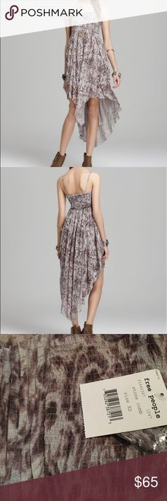NWT Free People Stone Combo Dress NWT. Worn with or without straps. High- low dress. Flowy and perfect for summer Free People Dresses High Low