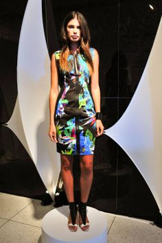 Elie Tahari Spring 2014 - a new color iPhone 5c will coordinate well with this bright tropical print dress