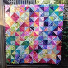 https://flic.kr/p/wn2wZU | Postcard From Sweden quilt finished! One of my all time faves! @jeliquilts thanks for the awesome pattern! #postcardfromsweden #quilt #modernquilt