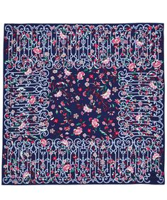 Liberty London Blue Garden Gates Silk Twill Scarf | Liberty London | Liberty.co.uk