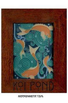 Motawi Tile | Koi Pond | Framed Tile | Arts & Crafts | Carp | Fish