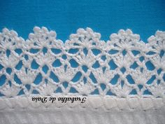 Crochet lace edging, 3 rows staggered shells  Vs, flowers