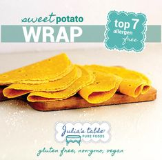 Sweet potato flour is our first ingredient in these happy orange wraps! Our soft Sweet Potato Wraps are top 7 allergen-free (contains soy), certified gluten-free, a good source of fiber, no-added sugar and vegan.They are also made with wholegrain flours like sorghum, brown rice, buckwheat, millet, teff quinoa and amaranth. The beauty of these wraps are that they perform just like any other wrap. Roll for a burrito – check! Fold for a quesadilla-check! Simply toast up in a pan - Yum! Sweet Potato Wrap, Sweet Potato Flour, Pureed Food Recipes, Snack Recipes, Snacks, Good Source Of Fiber, Orange You Glad, Buckwheat, Brown Rice