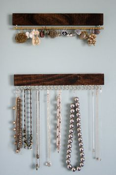Set of three wood and brass display racks: two for by fairlywell