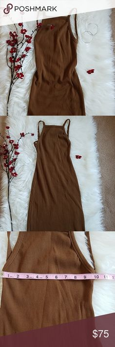cheaper b0865 b0f4f 🆕️Reformation brown carson dress Beautiful reformation Carson dress NWOT  Cut High in the neck then