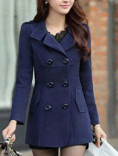 a5b4e01e766 Ms Stunner Women's Winter Spring Solid Color Double Breasted Elegant Wool  Coats Navy CN M