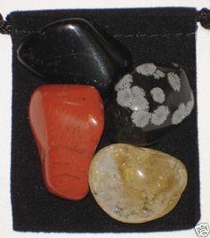 BALANCE Mind, Body, Spirit Tumbled Crystal Healing Set - 4 Gemstones w/Card & Pouch - Citrine, Jasper, Snowflake Obsidian and Tourmaline. $4.99, via Etsy.
