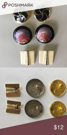 """3 Pairs of Post Back Pierced Earrings - BUNDLE SET Vintage 80's costume jewelry bundle of three pairs of earrings for pierced ears with posts and backs. (1) Navy w/ gold tone swirl pattern round is 1 1/8"""" wide (2) Laurel Burch - like round with black, lavender and peach/orange floral is 1 1/4"""" wide (3) Cream w/gold tone rectangle is 7/8"""" X 1""""  Selling as a bundle only. All for one very low price! Jewelry Earrings"""