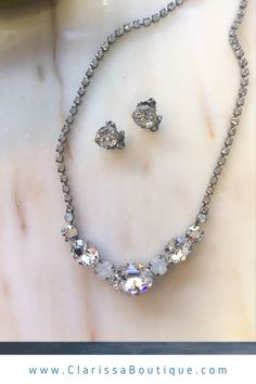 Bridal necklace and earring set with rhinestones and moonstones. . . #clarissaboutiquepittsburgh #clarissaboutique #pittsburgh #bridalboutique #burghbrides #bride #bridetobe #bridalwear #bridaljewelry #bridalstyle #wedding #weddings #bridalset #weddinginspiration #bridalaccessories #bridalnecklace #bridalearrings bridaljewelryset
