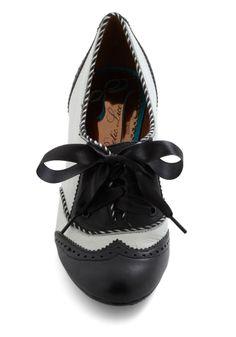 Poetic License Shoeful of Sugar Heel in Black & White | Mod Retro Vintage Heels