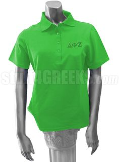Kelly Green Delta Phi Zeta ladies' polo shirt with Greek letters on the left breast.