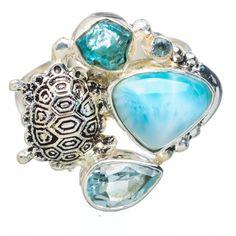 Larimar, Appetite Rough & Blue Topaz Sterling Silver Turtle Ring