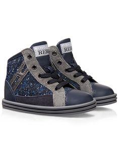 Collezione Primi Passi (1-5 anni) - High-top sneaker in lana buclè e pelle, con inserti in suède, chiusura a zip laterale e H a rilievo. Spirito casual.