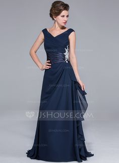 A-Line/Princess Off-the-Shoulder Sweep Train Chiffon Charmeuse Mother of the Bride Dress With Ruffle Beading (017026072)
