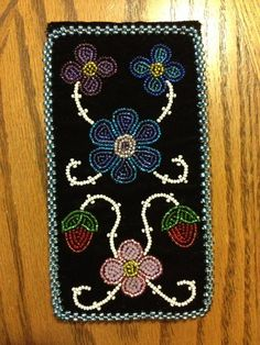 Phone case- black velvet ojibwe floral beaded by Jessica gokey Native Beadwork, Native American Beadwork, Beaded Purses, Beaded Bags, Beadwork Designs, Native American Design, Nativity Crafts, Beading Projects, Beaded Flowers