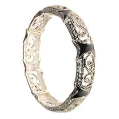 Decorative Silvertone and Black Stretch Fashion Bracelet