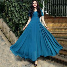 New Women summer dress Chiffon Short Sleeve Slim Big Swing Maxi Dress Elegant Fashion Women Party Dress D1238