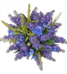 A natural garden style bridesmaids wedding bouquet, in lilac / purple silk lavender, light blue silk physostegia, artificial cattails and blue wildflowers. Wild Flowers, Plants, Natural Garden, Garden, Posy, Lavender, Garden Styles, Flowers, Nature