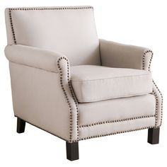 A sophisticated addition to your living room or den seating group, this birch wood arm chair showcases nailhead trim and gently scrolled arms.
