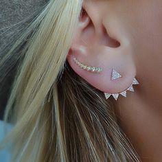 Diamond Triangle Ear Jackets : SL Designs