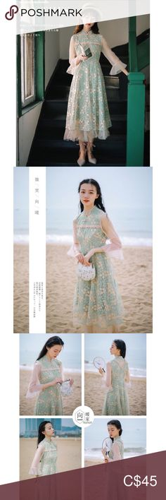 🔖 Mandarin Collar Romantic Embroidery Midi Dress 💐💐💐 - unbranded - mandarin collar romantic midi dress; - side zipper closure, body is lined, sleeves are sheer, delicate embroidery all over, colour is a light avocado green; - a nice special occasion piece or a staple if your wardrobe is just romantic on a daily basis 🌹 - best fit a XS to S: chest 92cm / shoulder 38cm / sleeve 45cm / length 102cm; - polyester; - brand new with tag 🔖✨  ✨🛒 I currently have lots of New w/ Tags for sale… Plus Fashion, Fashion Tips, Fashion Trends, Mandarin Collar, Special Occasion, Avocado, Tulle, Delicate, Romantic