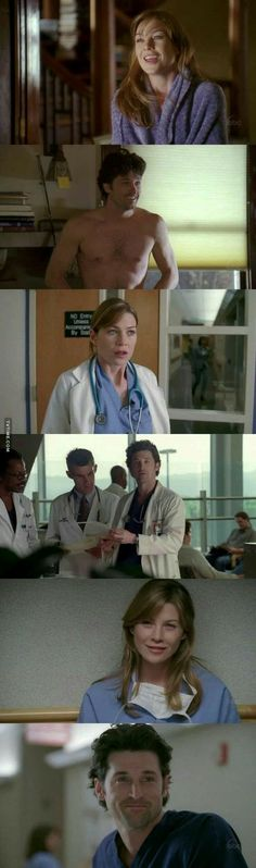Grey's Anatomy Derek and Meredith Greys Anatomy Season 1, Greys Anatomy Derek, Greys Anatomy Funny, Grays Anatomy Tv, Grey Anatomy Quotes, Meredith Y Derek, Tv Show Couples, Grey Stuff, Patrick Dempsey