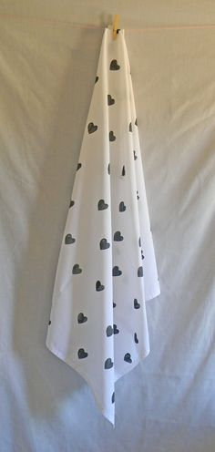 White Muslin with Hand Stamped Black Hearts by barrelandaheap, $12.00