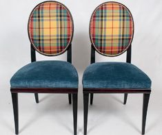 """A pair of side chairs upholstered in Diamond/Baratta """"New London Plaid"""" inside backs and linen velvet seats. Outside back and wood finish is in mahogany trimmed in brass nailhead. $2995.00 for the pair (not including freight). 39 inches tall, 24 inches deep, with a 19 inch seat height. contact: info@smwdesign.com for more information or to place an order."""