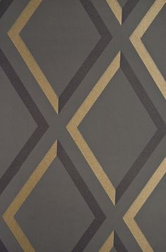 Pompeian Trellis Wallpaper Geometric Charcoal and Black diamond trellis effect wallpaper with metallic gilver embellishment. Bathroom Wallpaper, Wall Wallpaper, Trellis Wallpaper, Contemporary Wallpaper, Fabric Rug, Cole And Son, Pattern And Decoration, Gold Pattern, Textures Patterns