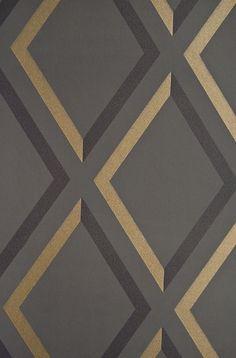Pompeian Trellis Wallpaper Geometric Charcoal and Black diamond trellis effect wallpaper with metallic gilver embellishment.