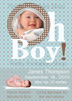 Oh Boy! Baby Boy Birth Announcement