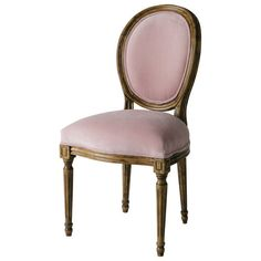 Sedia a medaglione rosa in velluto e hevea