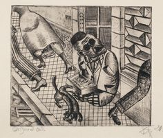 """Match Seller by Otto Dix  Etching, 1920. Artist proof. """"one of a series called 5 Radierungen (5 Etchings), which show groups of disabled ex-soldiers, often with devastating injuries or psychological damage. Dix forces us to confront the blind match-seller's bleak existence on the streets; his arms and legs lost in the war and his presence ignored by passers-by. A dachshund urinates gleefully on the stumps of the unfortunate man's legs, underlining his woeful state."""""""