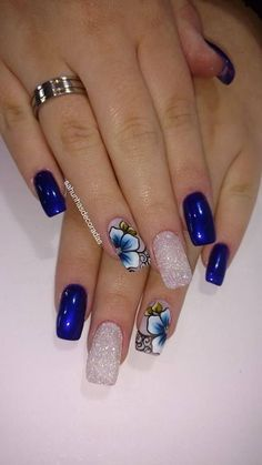 Try some of these designs and give your nails a quick makeover, gallery of unique nail art designs for any season. The best images and creative ideas for your nails. Cute Acrylic Nail Designs, Cute Acrylic Nails, Nail Art Designs, Nails Design, Blue Nails, My Nails, Oval Nails, Nagel Blog, Nagellack Trends