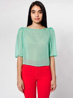 pretty with high-waisted skirt. Chiffon Puff Sleeve Blouse | Blouses & Shirts | Women's Tops | American Apparel