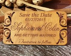 Wood Save-The-Date Magnets 10/ Engraved by AmazingWoodCraft