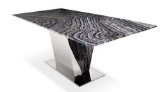 Black and White Marble Polished Stainless Steel Malbec Dining Table | Zuri Furniture