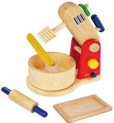 I´m Toy Back-Set Rührgerät mit beweglichem Schneebesen, Rührschüssel, Teigschaber für Kinder aus Holz
