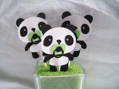Panda bear cupcake toppers baby shower