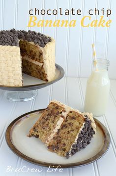 Chocolate Chip Banana Cake with Honey Peanut Butter Frosting - Inside BruCrew Life